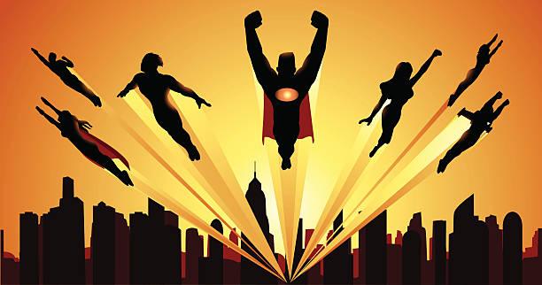 Team of Superheheroes Flying Silhouette